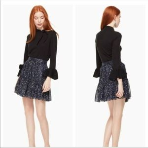 NWT Kate Spade silk Night Sky Lurex Navy Skirt